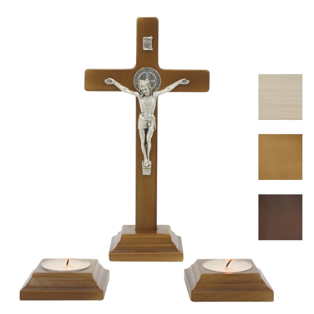 Krzyż benedyktyński z lichtarzami 20 cm