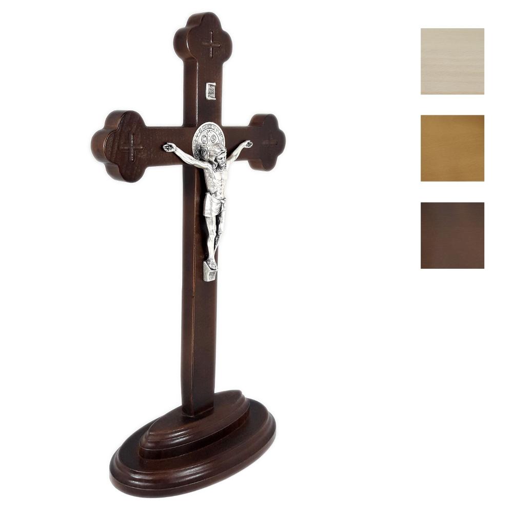 Krzyż ołtarzowy drewniany z medalikiem