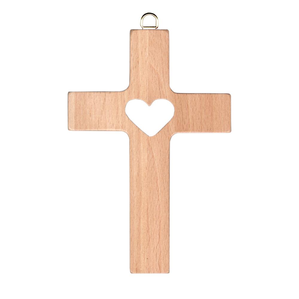 Krzyż drewniany z sercem 15 cm
