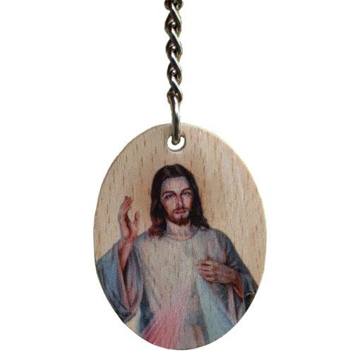Brelok drewniany Jezus Miłosierny