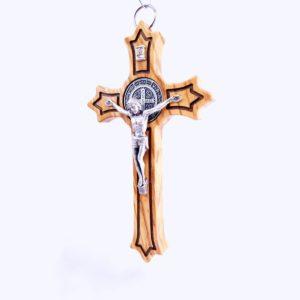 Włoski krzyż z Drzewa Oliwnego z medalikiem św. Benedykta 15cm