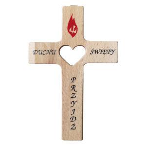 Krzyż drewniany z sercem bierzmowanie