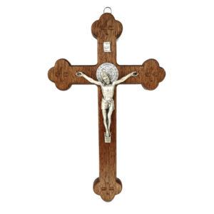 Krzyż Syjonu drewniany 25 cm z medalikiem